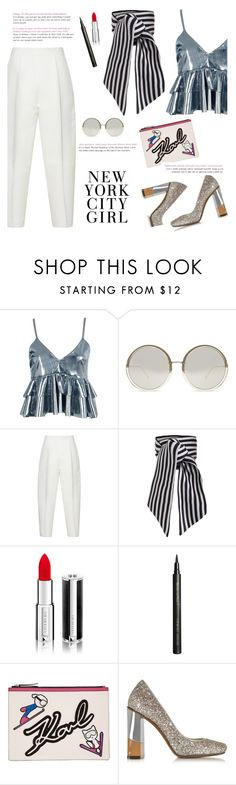 """""""How to Style a Black and White Striped Scarf with a Silver Top"""" by outfitsfortravel ❤ liked on Polyvore featuring Boohoo, Linda Farrow, Marni, Zimmermann, Givenchy, Giorgio Armani, Karl Lagerfeld, L'Autre Chose and contemporary"""