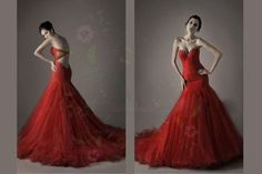 Custom 2013 Backless Crystal Sweetheart Tulle Mermaid Red Wedding Dress-in Wedding Dresses from Apparel  Accessories on Aliexpress.com $145.00