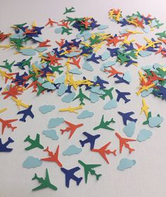 airplane birthday decorations, airplane confetti, boys birthday party decor, airplane baby shower decorations, boys airplane party by ritzywreaths on Etsy