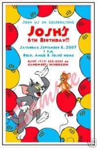 Tom And Jerry Party Kids Birthday Themes 5th Cards Cartoon