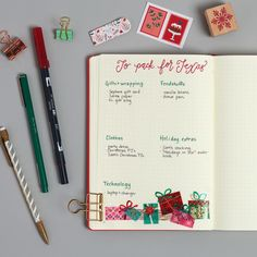 If you're traveling, add packing lists to your bujo, and make a separate list (or section) for the Christmas-specific items you don't want to forget.