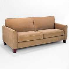 Pecan Morgan Sofa... different feel but we could pair it with cool chairs and maybe find a cool chaise?