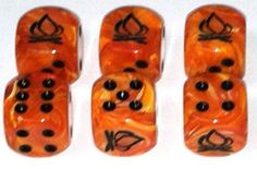 Custom & Unique {Standard Medium 16mm} 6 Ct Pack Set of 6 Sided [D6] Square Cube Shape Fiery Playing & Game Dice Made of Plastic w/ Pearl Swirl Campfire Design [Orange, Yellow & Black Colored]