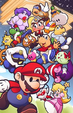 "ashikaiinks: "" If I'm honest, Paper Mario is my favorite game series of all time. Mundo Super Mario, Super Mario Art, Super Mario World, Super Mario Brothers, Wallpaper Nintendo, Jeux Nintendo 3ds, Super Nintendo, Nintendo Games, Mario And Luigi"
