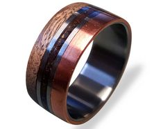 Titanium Ring with Copper and Oak wood and Dinosaur Fossil Inlays