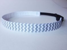 Gray and White Chevron Non-Slip Adjustable Headband - These are the best headbands that don't slip and are never too tight!