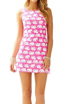 Lilly Pulitzer Delia Shift Dress in Pop Pink Tusk in Sun- perfect elephant print