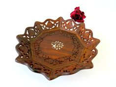 Vintage India Hand Carved Inlay Octagonal Shape Rosewood Tray - Boho Decor Archana Handicrafts Floral Carved Sheesham Wood Display Bowl by GSaleHunter on Etsy
