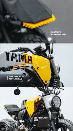 This Moto-Kit for Yamaha is completely ready to bolt-on. It allows to change the whole design immediately and you don't need expert level. Moto Cafe, Cafe Bike, Cafe Racer Bikes, Concept Motorcycles, Custom Motorcycles, Custom Bikes, Cafe Racing, Auto Racing, Enduro Motorcycle