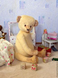 Стёпка (70 см) - бежевый,мишка тедди,большой мишка,мишка с опилками,игрушка медведь