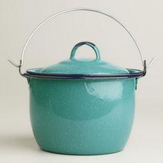 Mini Turquoise Enamel Stockpot - v1