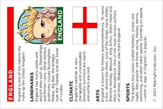 Fun printable fact sheet on England. Print all of our countries and add them to…