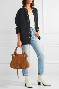 Cognac suede Zip fastening along top Comes with dust bag Designer color: Caramel Weighs approximately Made in Italy White Ankle Boots, Leather Ankle Boots, Studded Leather, White Leather, Fall Fashion Outfits, Autumn Fashion, Outfit Combinations, Wool Cardigan, Jeans And Boots