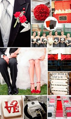 Red Black Grey wedding inspirations palette
