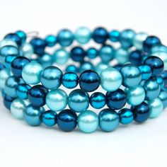 Deep Teal Blue and Aqua Memory Wire Bracelet Pearl by AMIdesigns, $19.00
