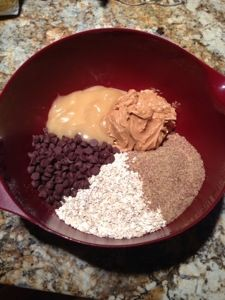 No-Bake Energy Bites 2 C Oats, 1 C peanut butter, 2/3 C honey, 1 C chocolate chips, 1 C ground flax seed, 2 tsp vanilla. Refrigerate