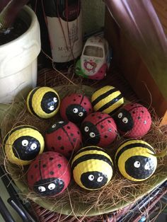 Lady Bugs and Bee golf balls by GiznThings on Etsy