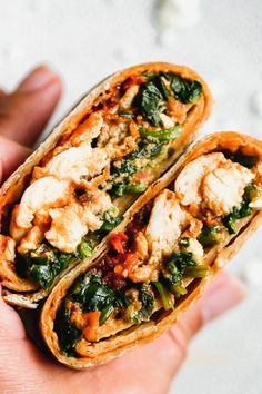 This Copycat Starbucks Spinach Feta Wrap is the perfect breakfast for busy mornings. A whole-wheat tortilla is stuffed with egg whites, spinach, feta, and a sun-dried tomato pesto. Brunch Recipes, Breakfast Recipes, Snack Recipes, Dinner Recipes, Snacks, Beef Recipes, Vegetarian Recipes, Cooking Recipes, Healthy Recipes