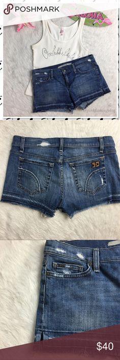 "Joe's Jeans Denim Cuttoff Shorts in Scarlet Wash Joes Jeans Denim Cuttoff Shorts in Scarlet Wash. Super cute denim cuttoff shorts with raw hems, dyed hem and purposeful deconstruction. Signature Joe's Jeans back pocket design. Waist 15.5"" inseam 2.5"". 07B140 Joe's Jeans Shorts Jean Shorts"