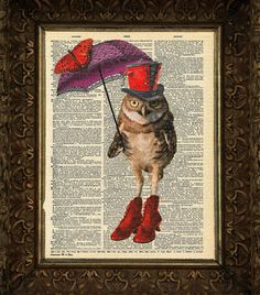 Owl with Red Shoes, Dictionary Art Print, Book Art, wall Decor, Wall Art Mixed Media Collage Buy2printsGet1free
