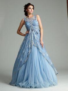 Sky blue color Indo Western gown – Panache Haute Couture