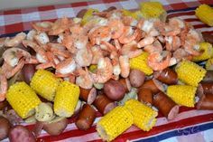 a great idea for a summer get-to-gether or cookout. and something different than grilling burgers and hotdogs Cajun Recipes, Shrimp Recipes, Great Recipes, Cooking Recipes, Cooking Stuff, Favorite Recipes, Healthy Recipes, Shrimp And Crab Boil, Seafood Boil