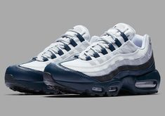 Nike Air Max 95 Wholesale Nike Air Max 95 Armory Navy Anthracite Wolf Grey White Running Shoe For Discount Zapatos Nike Air, Nike Air Shoes, Nike Air Vapormax, Air Max Sneakers, Nike Air Max Mens, Nike Men, Adidas Sneakers, Air Jordans, New Jordans Shoes