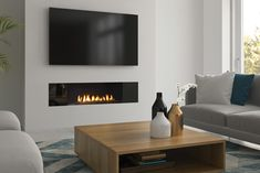 Regency City Series New York 40 Gas Fireplace - Fireplace Products - Hearth & Home Fireplace Feature Wall, Feature Wall Living Room, Wall Mounted Fireplace, Living Room Decor Fireplace, Linear Fireplace, Home Fireplace, Living Room Tv, Fireplace Design, Gas Fireplaces