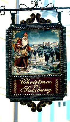 Christmas shop sign, Salzburg, Austria.