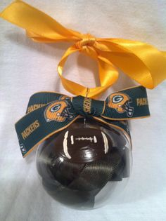 Hand painted Christmas ornament, Packers ornament, Football ornament