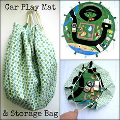 Portable play mat for kids with loops to cinch up into a bag. Appliqued with little scraps of fabric in the shape of roads, a zoo, ect. I must figure out how to do this!