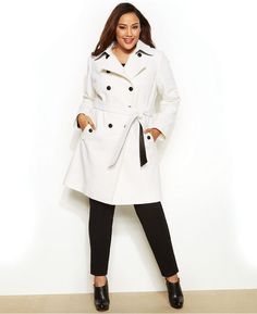 DKNY Plus Size Double-Breasted Faux-Leather-Trim Trench Coat- love this !!!!!!!