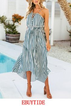 Women Holiday Striped Slit Bohemia Maxi Long Summer Beach Party Cocktail Dress