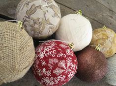 Choose 4 Wrapped 3 Christmas Ornaments Burlap by WhispersOfJOY