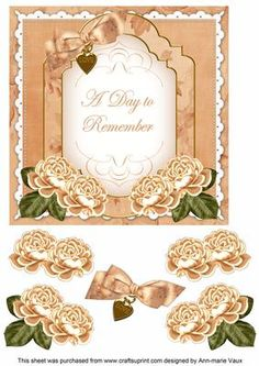 Peach Rose Date to Remember Fancy 7in Decoupage Topper on Craftsuprint - Add To Basket!