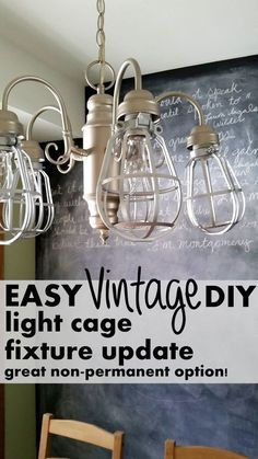 diy light cages for an inexpensive update to any light fixture, home decor, kitchen design, lighting, window treatments Diy Light Fixtures, Vintage Light Fixtures, Industrial Light Fixtures, Bathroom Light Fixtures, Vintage Lighting, Painted Light Fixtures, Industrial Lighting, Diy Luminaire, Diy Lampe