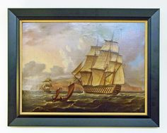 Original oil painting of a British Man o War sailing off the coast of Saint Helena Island; attributed to Thomas Buttersworth.110-gun first rate ship of the line of the Royal Navy is flying an ensign of the red with a brig as escort, and a jolly boat is sailing towards the port side of the ship.
