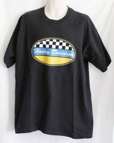 Harley Davidson T Shirt XL Mens Black White Check Racing Motorcycle Made in USA #HarleyDavidson #GraphicTee