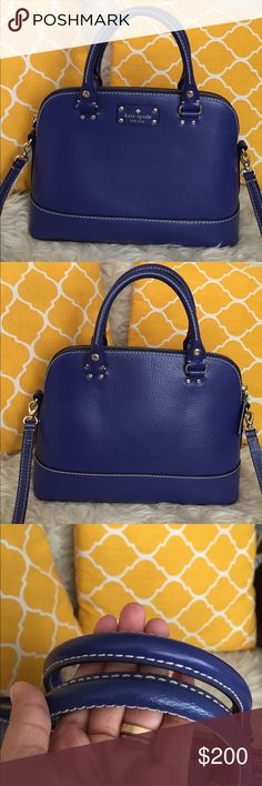 🌸OFFERS WELCOME🌸Kate Spade All Leather Blue Bag 🌷Authentic🌷Excellent shape. Minimal sign of use. Features zip top to close, removable and adjustable shoulder or crossbody strap, three pockets inside, and metal feet for protection when placing down. Don't be shy to make an offer💕 kate spade Bags Satchels