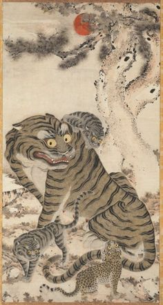Tiger Family | Cleveland Museum of Art. Korea, late 18th century. Gradually, the tiger gained popularity in folk paintings as a protector to drive away evil spirits. It was also thought to be a messenger of sansin, the mountain spirit in Korean shamanism. Leopards were mistakenly thought to be baby tigers, and were often painted with the mother tiger, as in this painting.