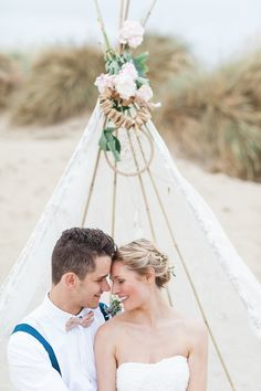 Tipi | Beach Inspiration Shoot At Camber Sands | Duck Egg Blue And Peach Colour Scheme | Images From Summer Lily Studio | http://www.rockmywedding.co.uk/bridal-inspiration-from-camber-sands/