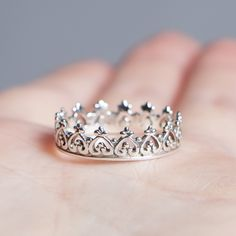 Crown 925 Stack Ring – Boho Lake Princess Ring // Tiara Ring // Solid 925 Sterling Silver // Boho Ring // Bohemian Ring