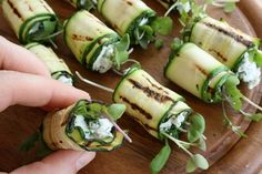 Grilled zucchini rolls. - stuff with the garlicy eggplant spread and this sounds like a winner - or chicken salad (blog is invite only)