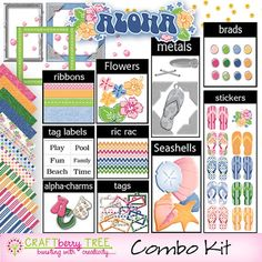 scrapbooking with aloha | Aloha Summer Digital Scrapbook Combo Kit by Craftberrytree on Etsy, $5 ...