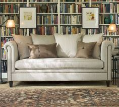 I want Ticking Stripe slipcovers for my sectional in the family room.  Caldwell Home: Love: Oxford Sofa in Ticking Stripe