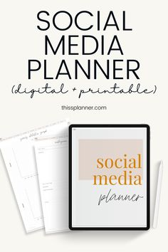 SOCIAL MEDIA PLANNER DIGITAL & PRINTABLE FOR INSTAGRAM PINTEREST FB Most Popular Social Media, Top Social Media, Social Media Content, Social Media Marketing, Daily Planner Pages, Blog Planner, Printable Planner, Planner Stickers, Printables