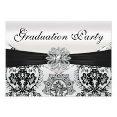 Stunning Black and Silver Damask Graduation Party Invitation