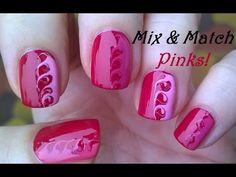 Mix & Match Pink Nails! Toothpick Nail Art Tutorial #10 - YouTube