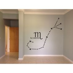 Scorpio Wall Decal Zodiac Constellation Wall Laptop or Car Sticker ($16) ❤ liked on Polyvore featuring home, home decor, wall art, grey, home & living, home décor, wall decals & murals, wall décor, vinyl wall stickers and astrology signs