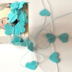 Tiny Paper Garland in a Box Hearts Blue